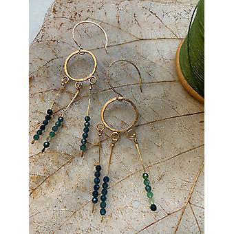 Brincos de Sereia de Turmalina Azul/Verde