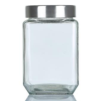 Glass Storage Jar With Round Airtight Metal Lid - 1.5 Litre