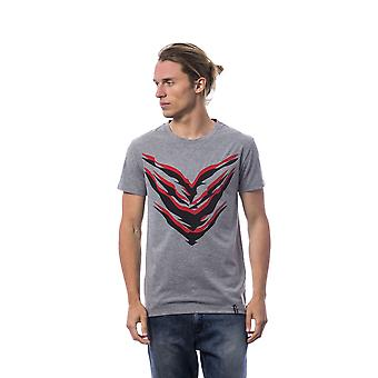 Roberto Cavalli Sport Grey Melange Röd Svart Print T-shirt