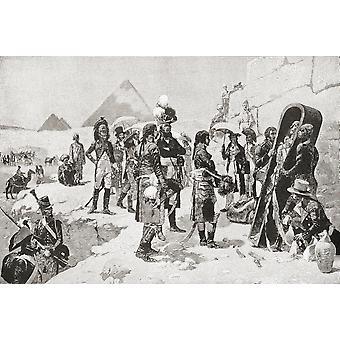 Napoléon Bonaparte 1769-1821 avant la momie du Pharaon en Égypte en 1798 d'hommes illustres et grands événements de la PosterPrint du XIXe siècle