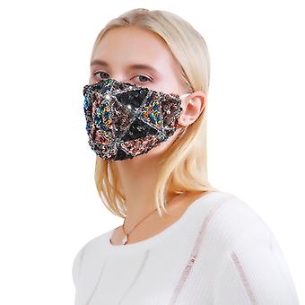 Fashion Sequined Face Mask Adult Winter Cycling Face Mask Dustproof, Breathable And Warm Cotton Mask With Adjustable Earrings,5 Packs