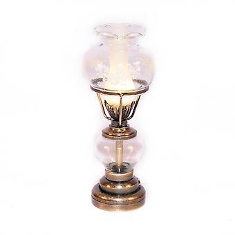 Κούκλες σπίτι αντίκες χρυσό επιτραπέζιο λαμπτήρα χαραγμένο γυαλί σκιά 12v ηλεκτρικό φωτισμό