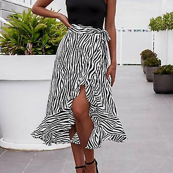Frauen Sommer hohe Taille Zebra-Streifen-Rock, Pleated Wrap Sarong Baumwolle, lang