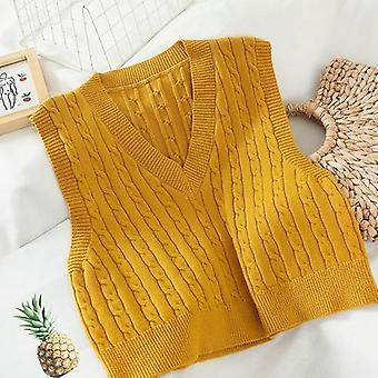 Autumn/winter V-neck Sleeveless Knit Tops Ladies Korean Style Sweater Vest