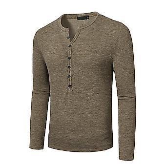 YANGFAN Men's Casual T-Shirt Long Sleeve Button Top