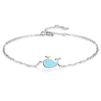 Cute Epoxy Blue, Water Spray -small Whale Design Chain Bracelet
