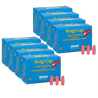 Wedge Pencil Cap Erasers, Pink, 25 Per Pack, 8 Packs