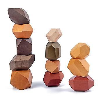 خشبية مكدسة الحجر متوازنة للعبة مونتيسوري التعليم قوس قزح كتلة