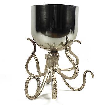 28cm Silver Metal Octopus Bowl Style Planter