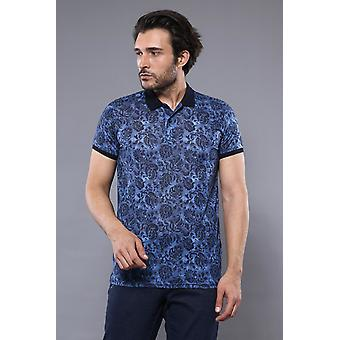 Wzorzysta niebieska koszulka polo | wessi