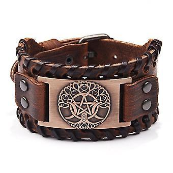 Retro Handmade Genuine Leather Bracelet Charm Wide Leather Bracelet For Man