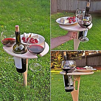 Outdoor Portable Wine Table With Foldable Round Desktop Mini Wooden Picnic Table Easy To Carry