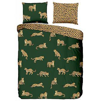 begging leopards 135 x 200 cm cotton green