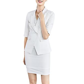 YANGFAN Dámské's Pruhované klopové sako a sukně 2 ks oblek
