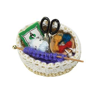 Nukkekoti Miniatyyri kohtaus malli neuletyökalut, Teeskennellä play lelu, Tarvikkeet