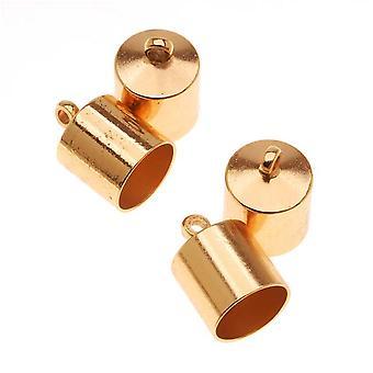 ينتهي الحبل Beadsmith، برميل مع حلقة 12.5mm، يناسب الحبل 8mm، 4 قطع، مطلي بالذهب