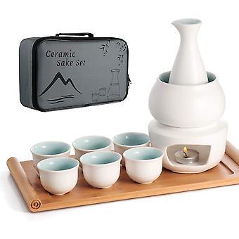 HanFei Keramik Sake Set Warmer Pot Bambus Tablett, Herd Safe Keramik Hot Saki Drink, 10 Stück