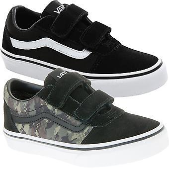 Vans Kids Boys Ward V Hook & Loop Suede Canvas Sneakers Scarpe