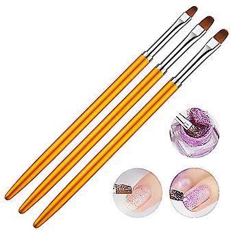 Nail art sculpture pen 3pcs golden nail polish carving brush dotting tools