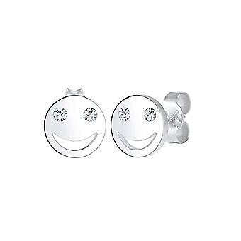Elli Øreringe til kvinder, med smilende ansigt, med krystaller, i sterling sølv 925 (1)