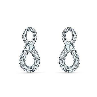 Swarovski Infinity Mini earrings, white, rhodium plated