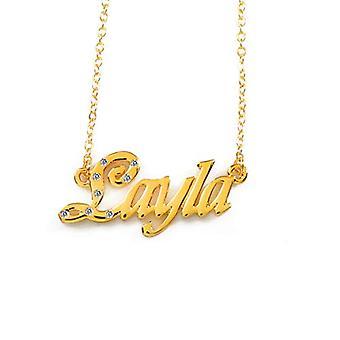 """L Layla - 18 karaattinen kullattu kaulakoru, muokattavissa nimi, säädettävä ketju 16""""- 19"""", Regal Packaging"""