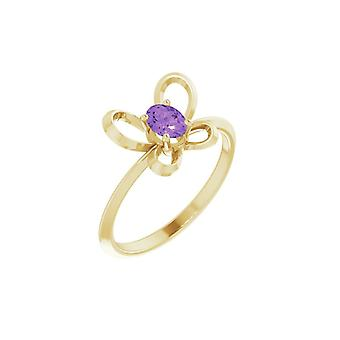 14k Yellow Gold February Oval 4x3mm Polished Butterfly Angel Wings Youth Ring Size 3 - 1.1 Grams