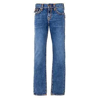 True Religion Geno Super T Flap Relaxed Slim Fit Jeans - Medium Wash Blue