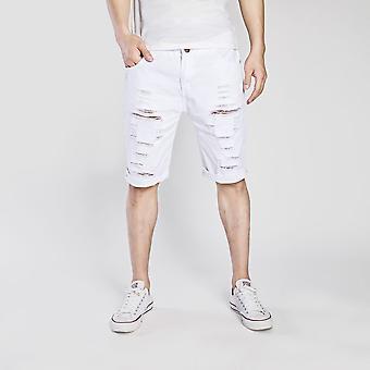 Men Summer Ripped Stretch Casual Half Denim Shorts