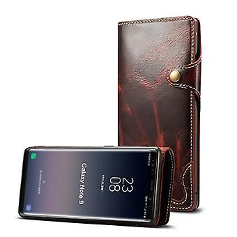 Genuine leather wallet case card slot for samsung s9plus winered no4159