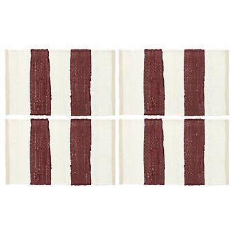 vidaXL placemats 4 kpl. Chindi Raidallinen viini punainen ja valkoinen 30 x 45 cm