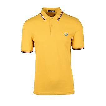 Fred Perry Twin Tipped Polo Shirt Dijon Yellow/ Summer Red/ Marina Blue