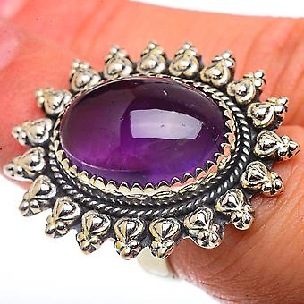 Large Amethyst Ring Size 6.5 (925 Sterling Silver)  - Handmade Boho Vintage Jewelry RING66763