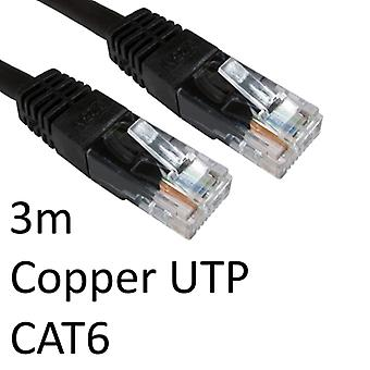 RJ45 (M) to RJ45 (M) CAT6 3m Black OEM Moulded Boot Copper UTP Network Cable