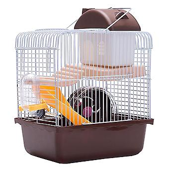 1pc Double Layer Hamster Cage Pet House Acrylique Portable Small Pets House Chinchilla Hamster House (brun)