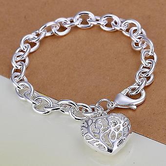 Requintado Coração Oco Pingente de Coração Encanto Coração Bangle Bracelet Chain