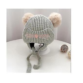 Maluch dzieci niemowlę zimowy kapelusz, nausznik Knit Warm Cap Fleece Lined Beanie dla chłopców dziewczynki (ZIELONY)