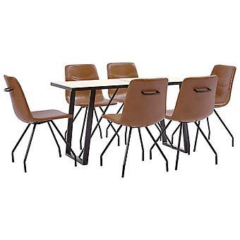 vidaXL 7 pcs. Dining group Cognac faux leather