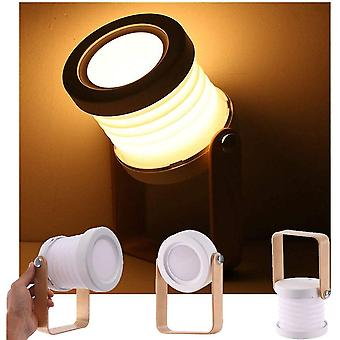 Table Lamp, Portable Folding Telescopic Night Light, Led Reading Lamp With Wooden Handle, Brightness On 3 Levels
