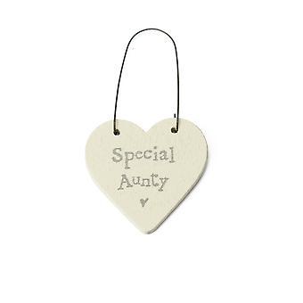 Special Aunty - Mini Wooden Hanging Heart - Cracker Filler Gift