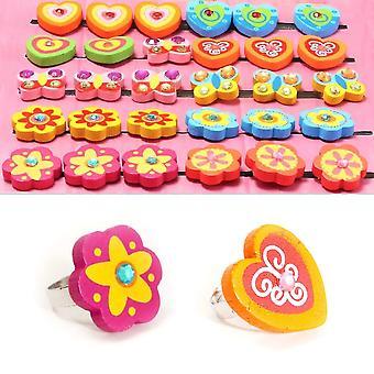 LAST FEW - Pretty Wooden Ring for Little Girls - Cracker Filler Gift
