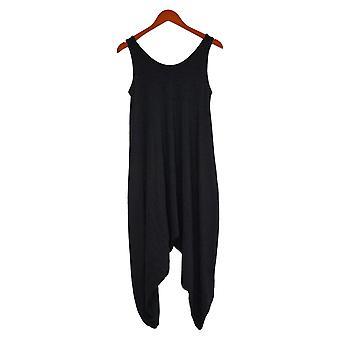 AnyBody Jumpsuits Cozy Knit Romper Scoop Neck Side Pocket Black A306964