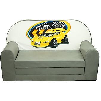 Kinderschlafcouch - Sofa - mattgrün - Gästematratze - 85 x 60 - Autos