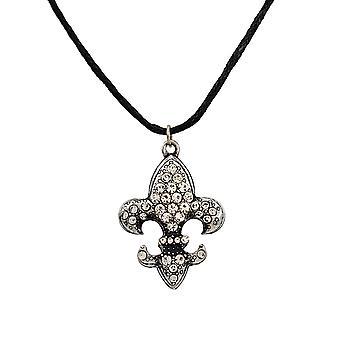 Горный хрусталь Флер де Лис с черный шнур ожерелье