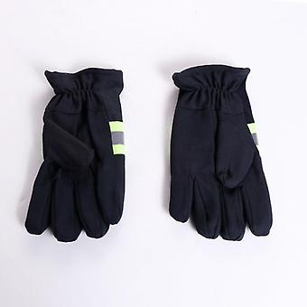 Polyester-cotton Three-bar Fire-fighting Gloves Navy Blue