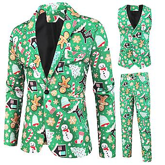 Mile Men's Christmas Print Three-piece Single-breasted Suit (single West + Vest + Trousers) Green