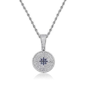 Compass Pendant Iced Out Cubic Zirconia Pendant With Tennis Chain Hop Fashion Jewelry(silver)