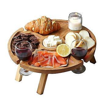 Puinen ulkona taittuva piknikpöytä viini lasiteline Mini Camping Table