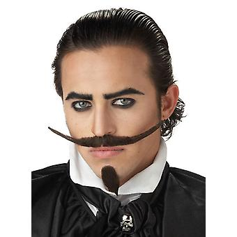 The Dandy Dark Brown Medieval 1920s 1950s Men Costume Chin Patch Moustache Set