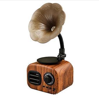 Retro Radio Bluetooth Sound Amplifier Portable Mini Wireless Play|Bookshelf Speakers(Mahogany)